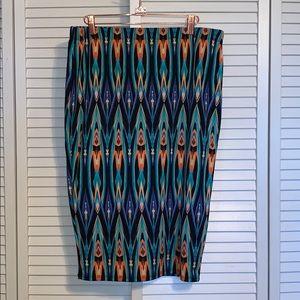 Bright Printed Pencil Skirt